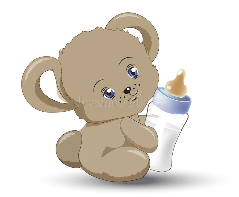 Картинка мишка с бутылкой