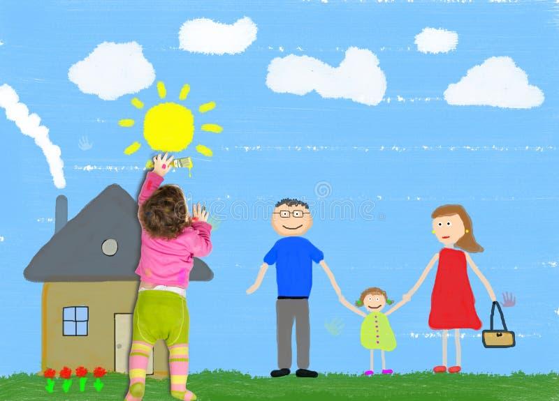 Маленький ребенок рисует счастливую семью стоковые фотографии rf