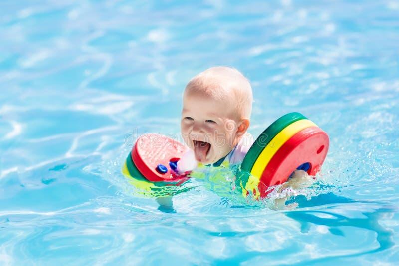 Маленький ребёнок играя в бассейне стоковое фото