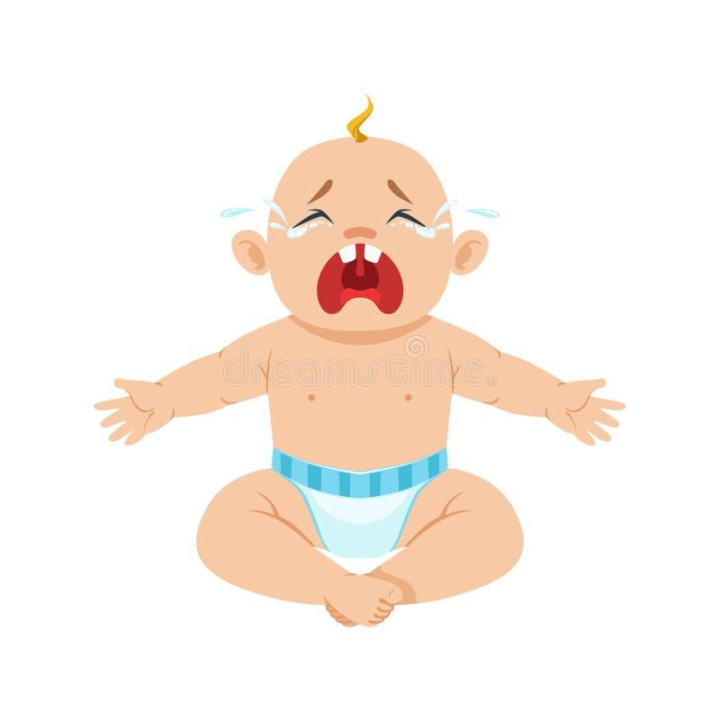 Маленький ребёнок сидя в ворсистом плача Hesterically с глазами полными разрывов, части причин младенца быть несчастный иллюстрация вектора