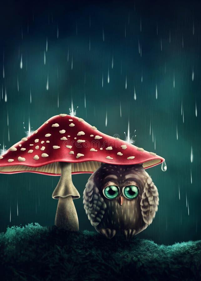 Маленький сыч под грибами иллюстрация вектора
