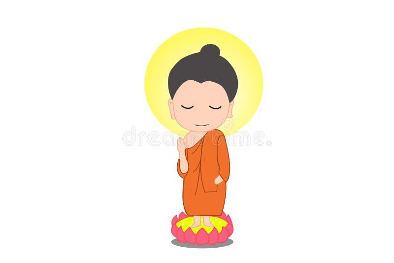 Маленький шарж Будды иллюстрация вектора