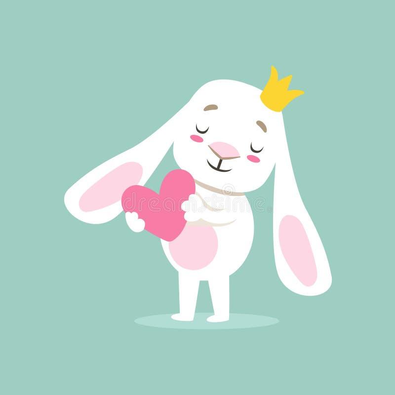 Маленький Girly милый белый зайчик любимчика в сердце принцессы Кроны Holding Розов, иллюстрации ситуации жизни персонажа из муль бесплатная иллюстрация