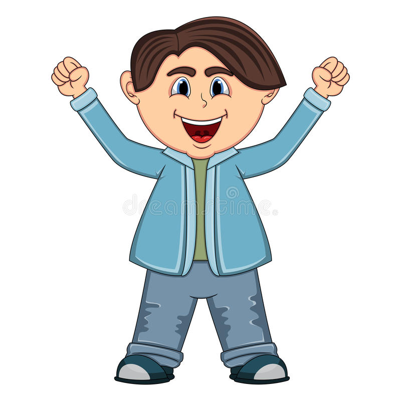 Маленькое милое повышение мальчика 2 руки вверх иллюстрация штока