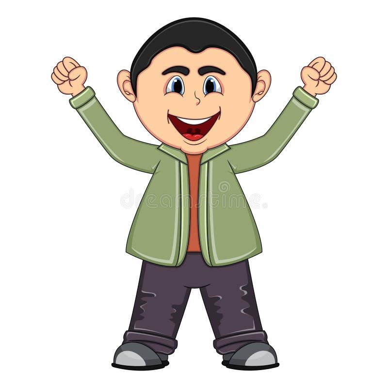 Маленькое милое повышение мальчика 2 руки вверх бесплатная иллюстрация