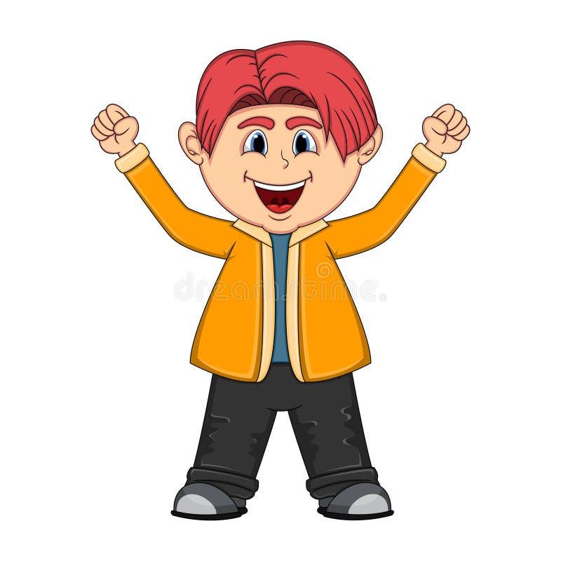 Маленькое милое повышение мальчика 2 руки вверх иллюстрация вектора