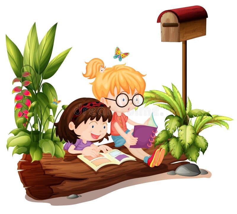 2 маленькой девочки около деревянного почтового ящика бесплатная иллюстрация