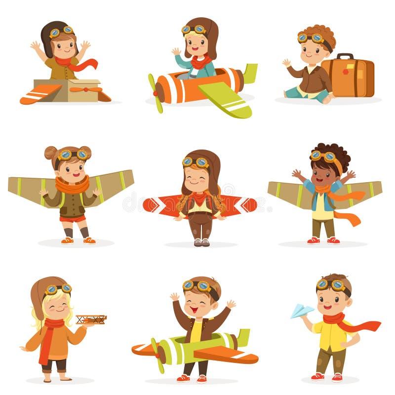 Малые дети в пилотных костюмах мечтая пилотирования самолета, играя с персонажами из мультфильма игрушек прелестными иллюстрация штока