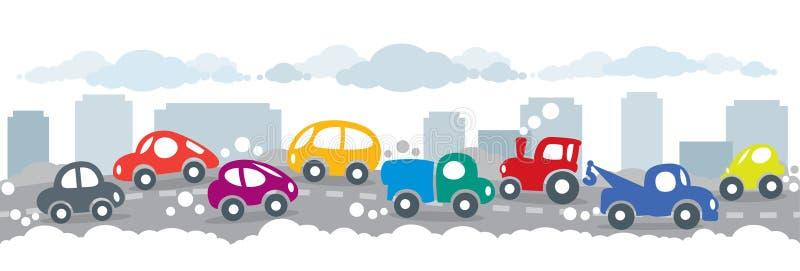 Малые смешные автомобили на городской предпосылке дороги города иллюстрация вектора