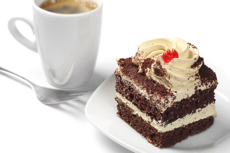 Малые торт и кофе стоковые фотографии rf