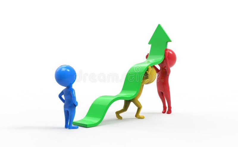 Малые люди - объединяйтесь в команду поднимающ вверх стрелку бесплатная иллюстрация