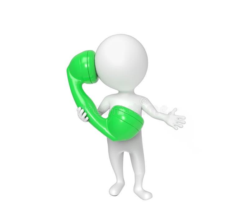 Малый белый человек говорит на телефоне бесплатная иллюстрация