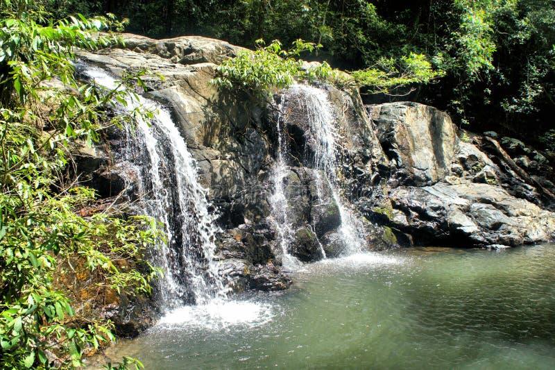 Малый водопад в одичалых джунглях Остров Palawan стоковая фотография rf