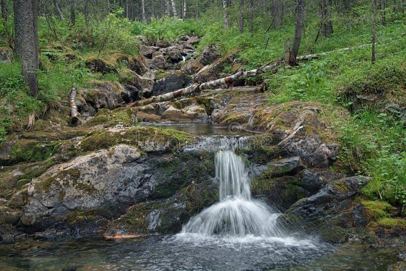 Малый водопад на реке Katayka, северных горах Ural стоковое фото