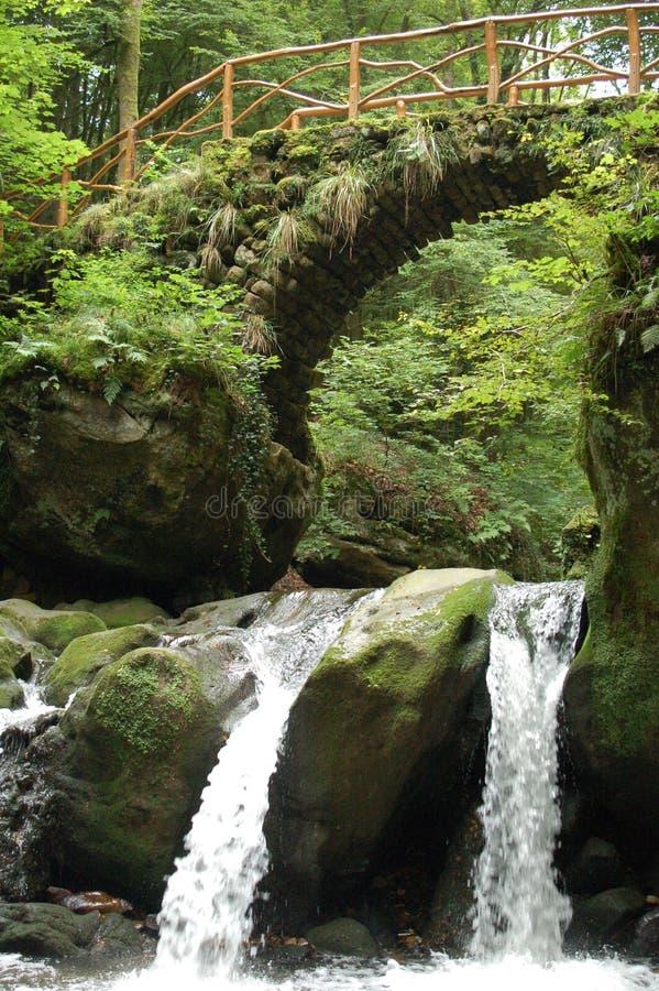 Малый водопад с мостом стоковое изображение
