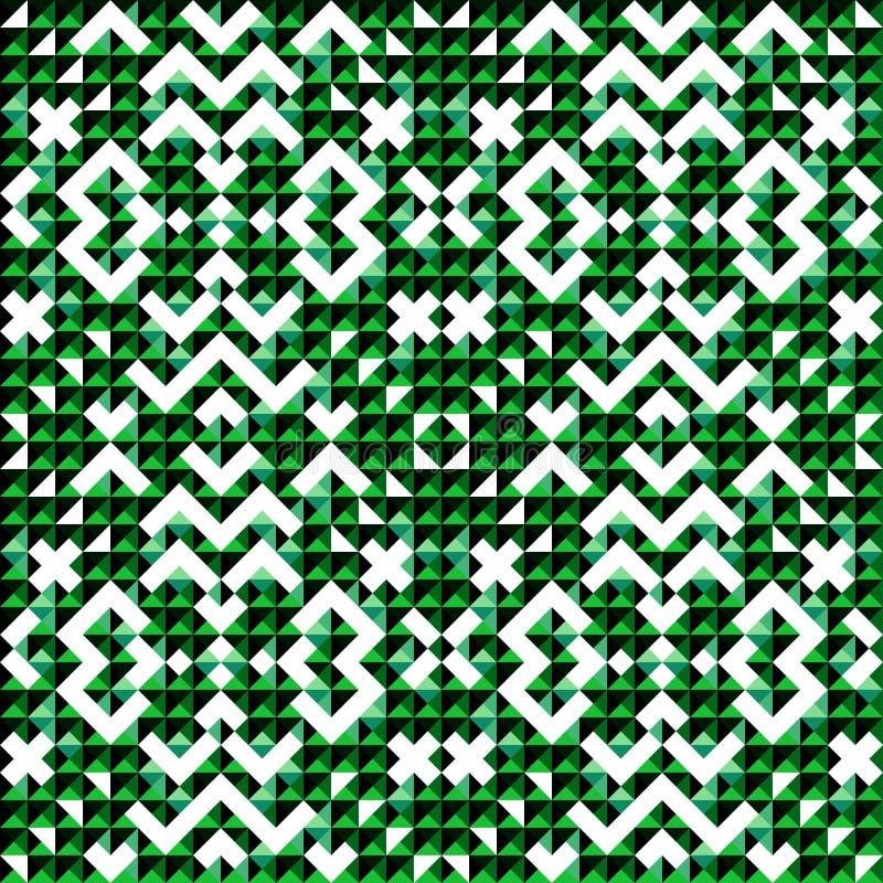 Малый зеленый цвет покрасил картину красивой абстрактной геометрической предпосылки пикселов безшовную иллюстрация вектора