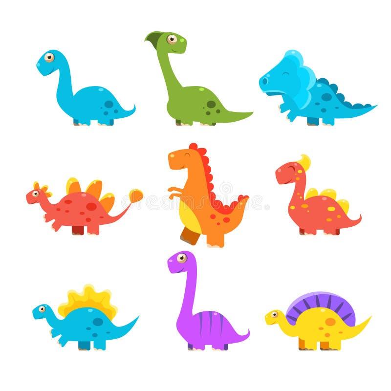 Малый красочный комплект динозавра Милое собрание вектора иллюстрация штока