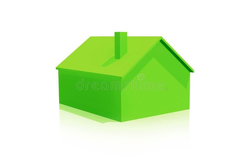 Малый пластичный значок зеленого дома 3D на белой предпосылке бесплатная иллюстрация