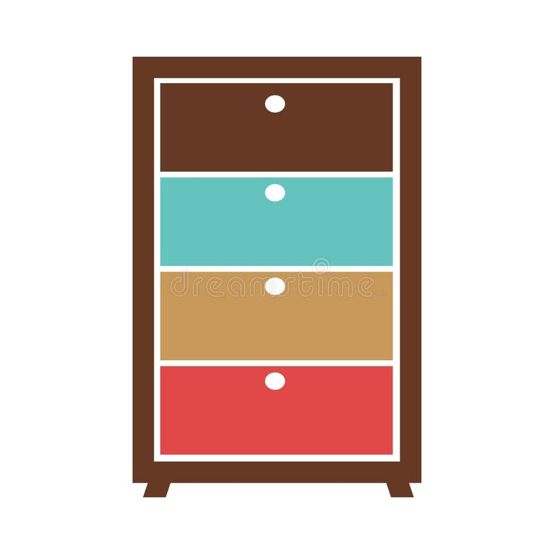 Малый commode с красочными коробками бесплатная иллюстрация