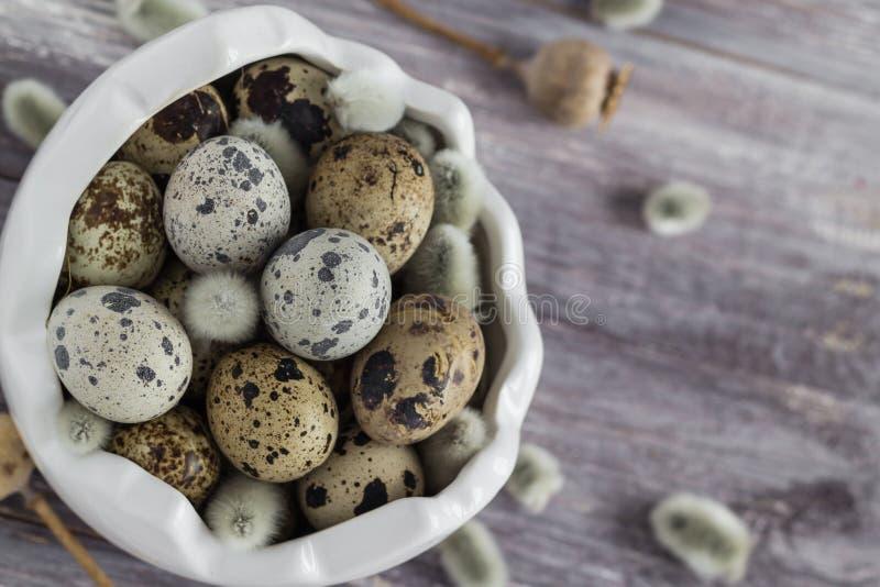 Малым база данных деревянного стола яичек триперсток разбросанная блюдом стоковые изображения