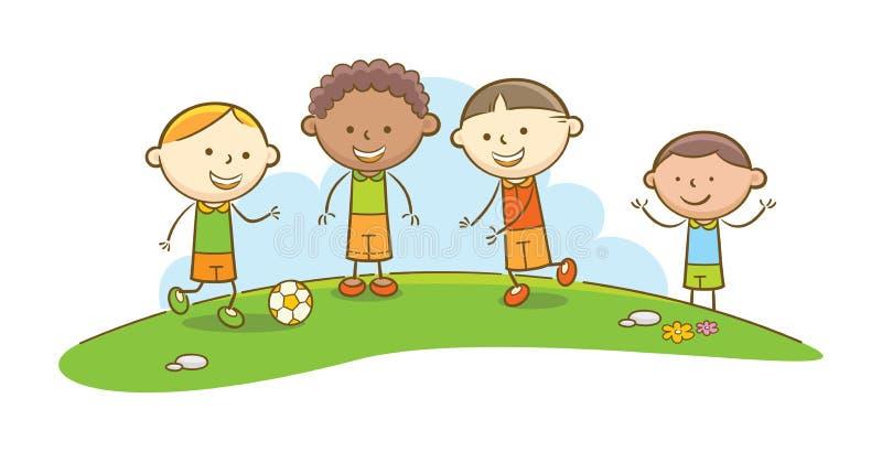 малыши играя футбол бесплатная иллюстрация