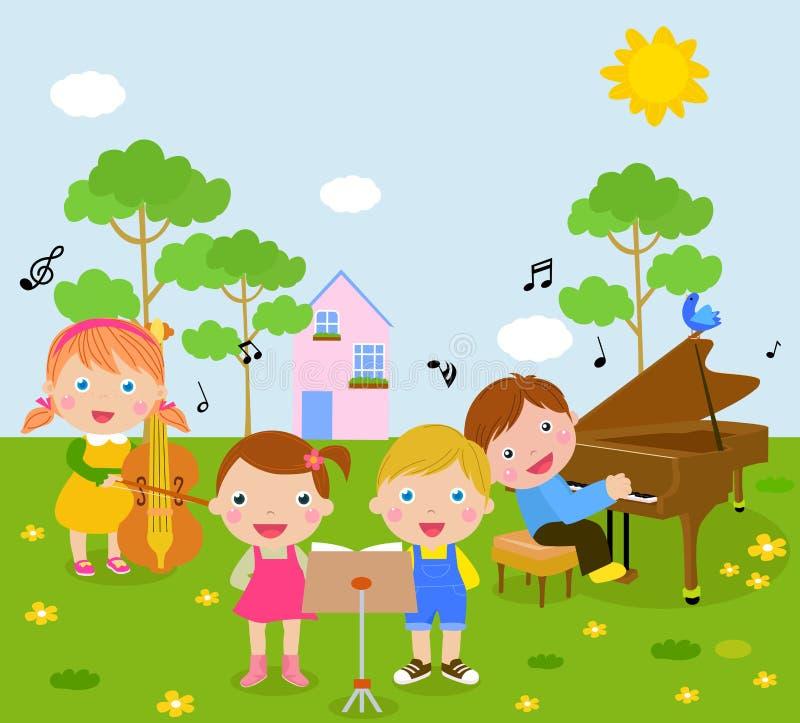 Малыши и нот иллюстрация вектора