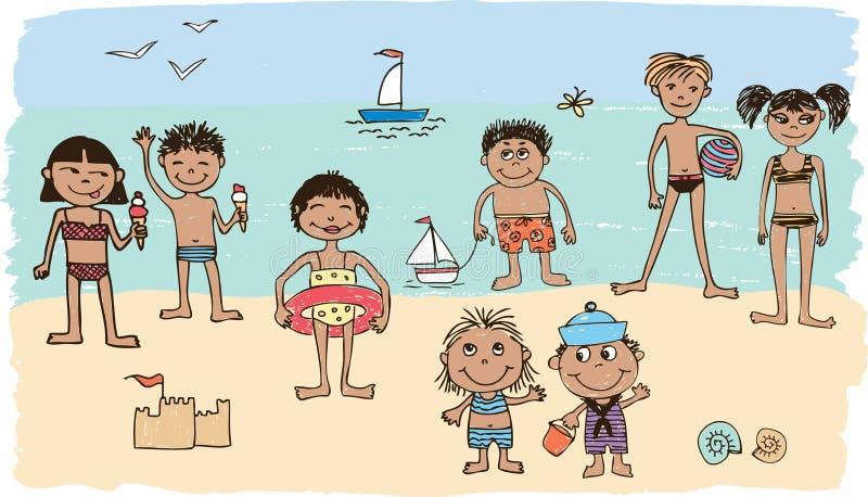 Малыши на пляже бесплатная иллюстрация