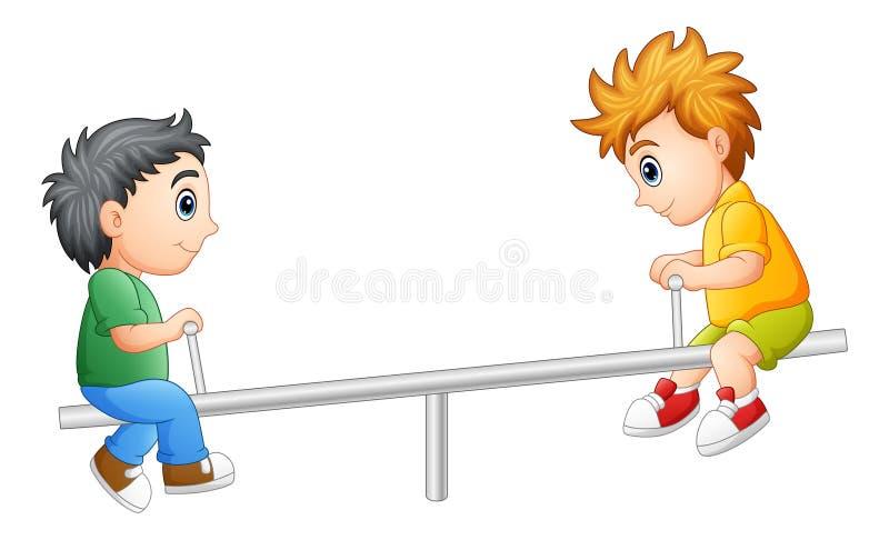 2 мальчика играя на seesaw иллюстрация штока