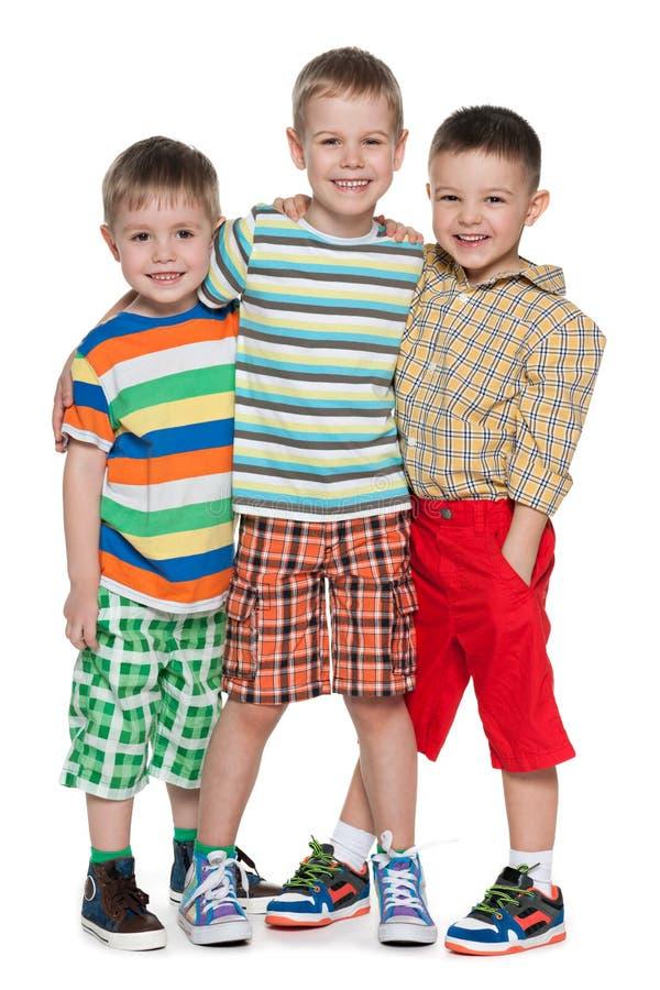 3 мальчика моды в striped рубашке стоковое изображение rf