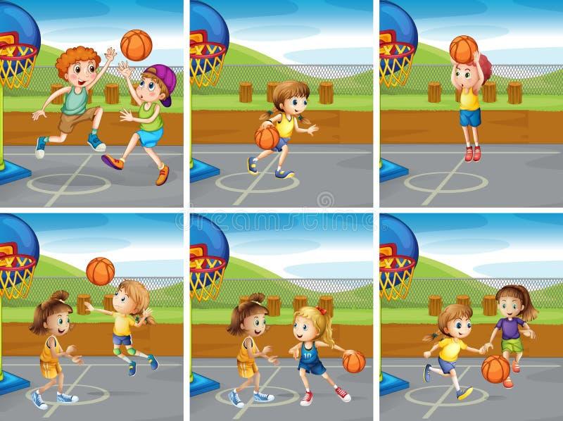 Мальчики и девушки играя баскетбол иллюстрация вектора