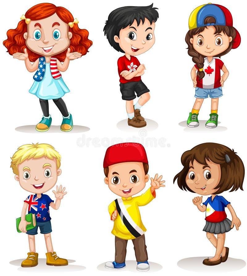 Мальчики и девушки от различных стран иллюстрация вектора