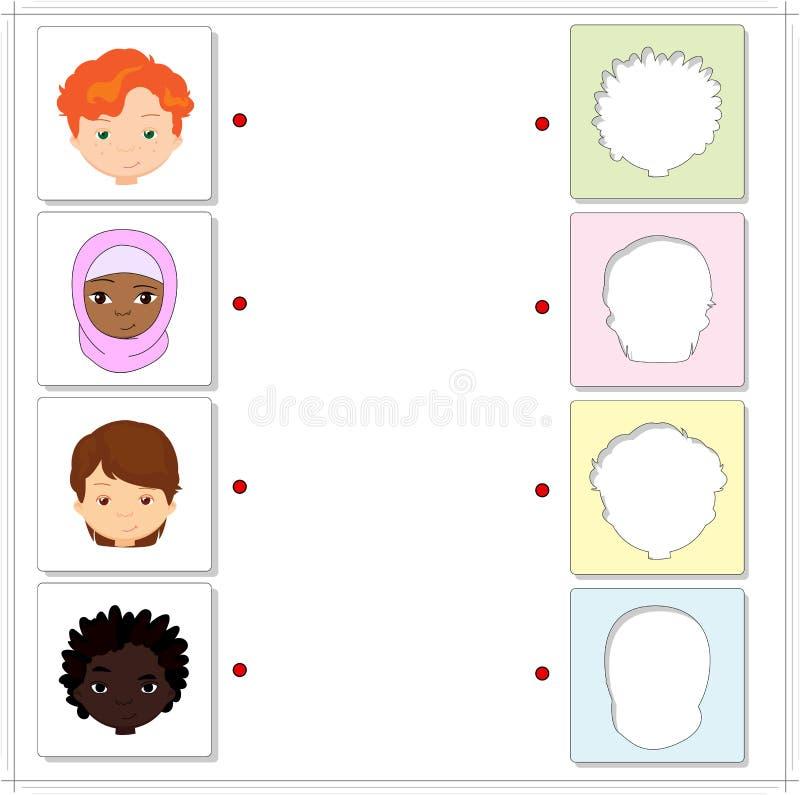 Мальчики и девушки различных национальностей Воспитательная игра для бесплатная иллюстрация