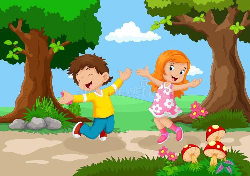 Мальчики и девушки скача для утехи в красивом саде иллюстрация штока