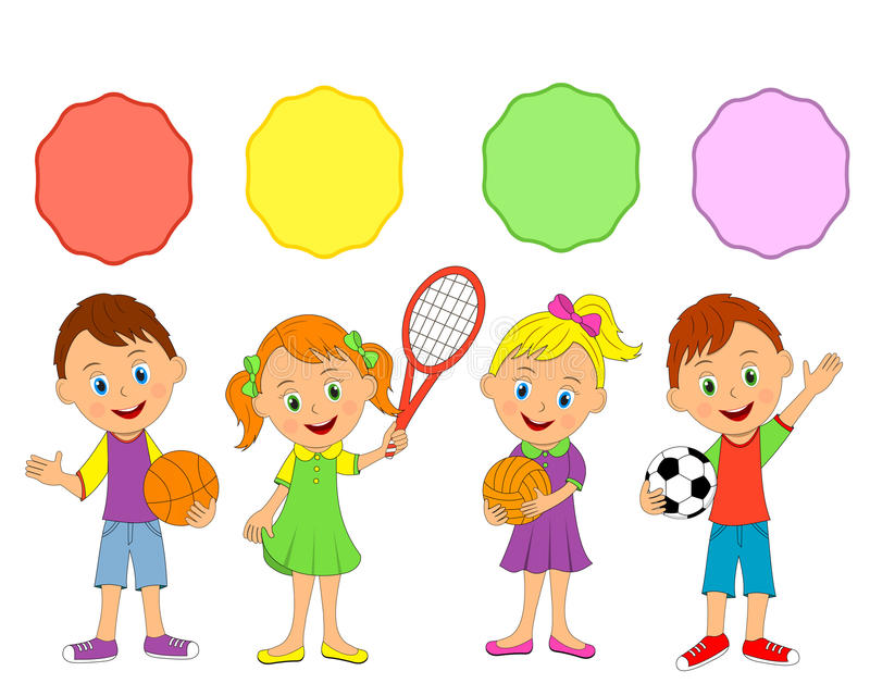 Мальчики и девушки, спорт бесплатная иллюстрация
