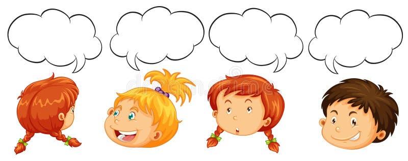 Мальчики и девушки с шаблонами пузыря речи иллюстрация штока