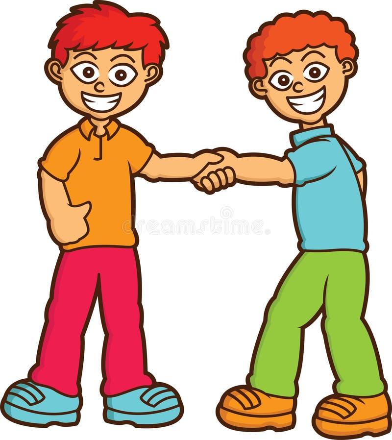 Мальчики тряся иллюстрацию шаржа рук иллюстрация штока