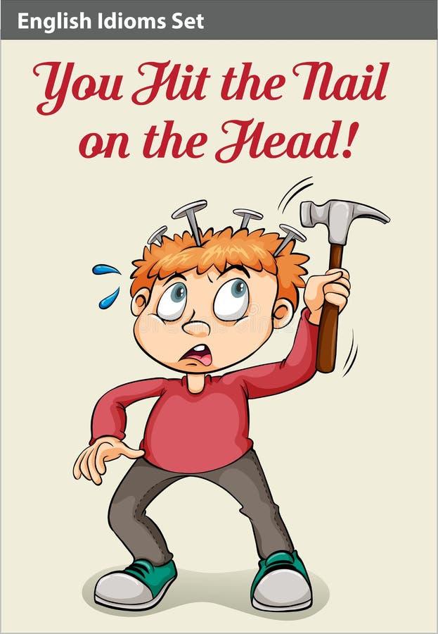 Мальчик бить молотком его голову молотком иллюстрация вектора