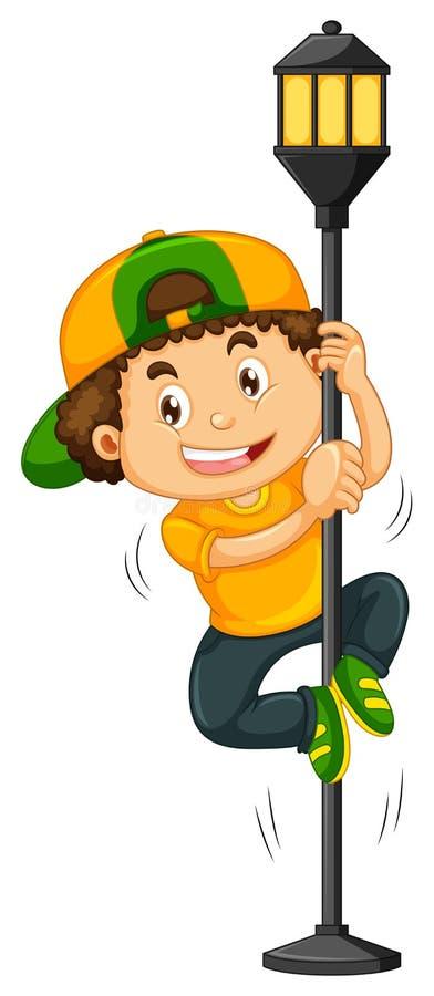 Мальчик взбираясь вверх столб лампы иллюстрация вектора