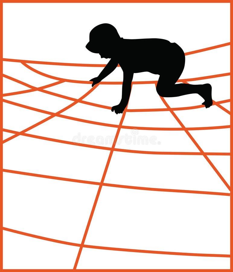 Мальчик взбираясь сеть спортзала джунглей иллюстрация штока