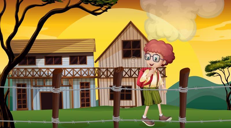 Мальчик внутри загородки barbwire бесплатная иллюстрация