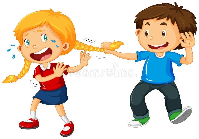 Мальчик вытягивая волосы девушки бесплатная иллюстрация