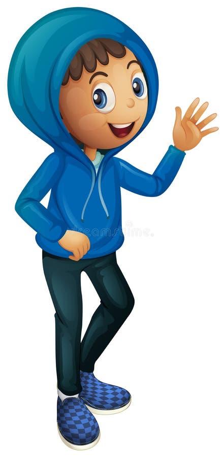 Мальчик в голубой куртке зимы иллюстрация штока