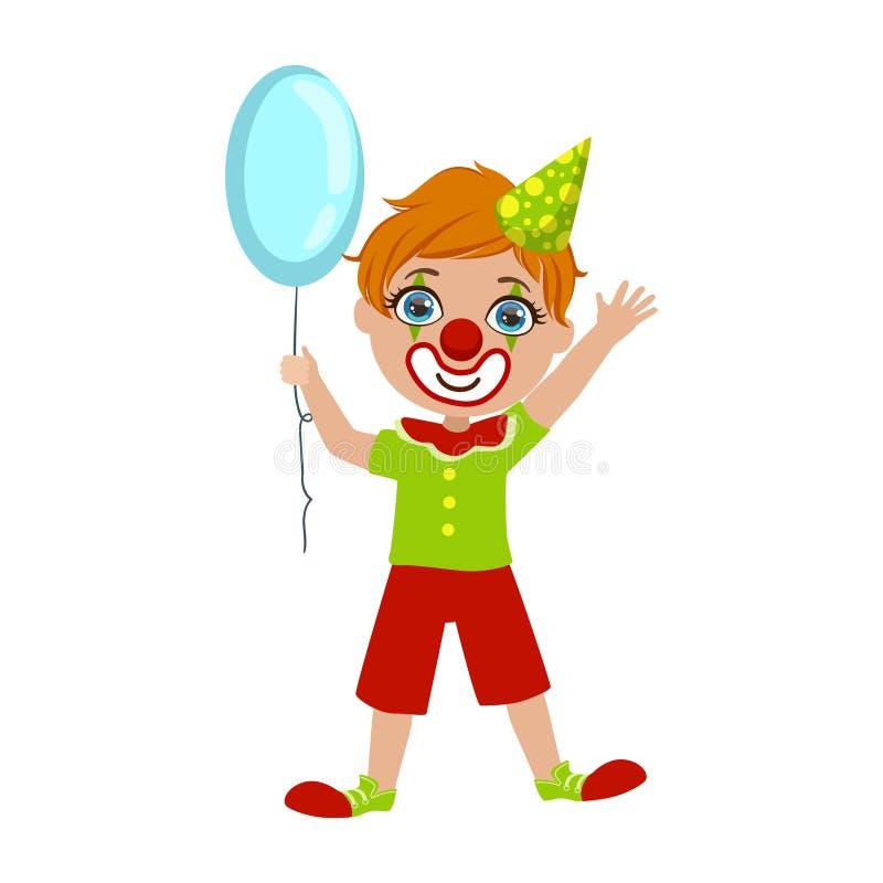 Мальчик в костюме клоуна, часть детей на комплекте вечеринки по случаю дня рождения милых персонажей из мультфильма с атрибутами  иллюстрация штока
