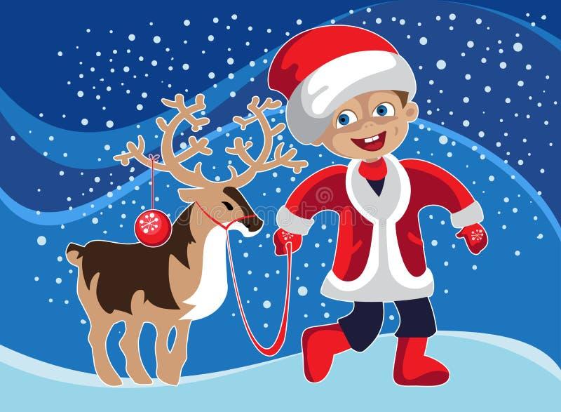 Мальчик в костюме рождества с оленем бесплатная иллюстрация
