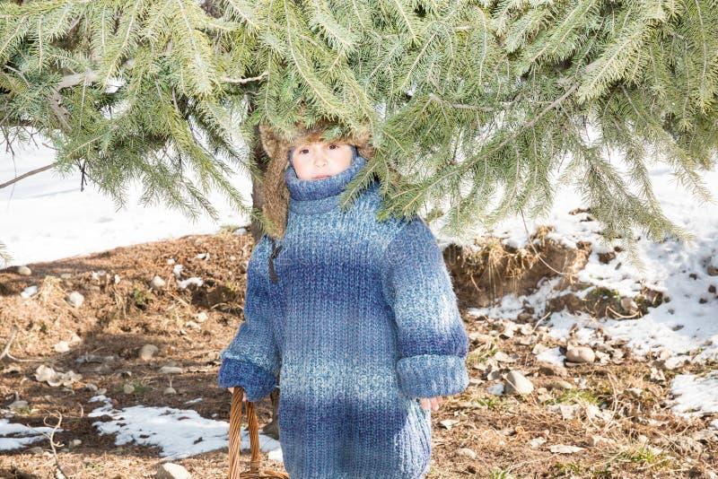 Мальчик в крышке с earflaps играет парк зимы стоковое изображение rf