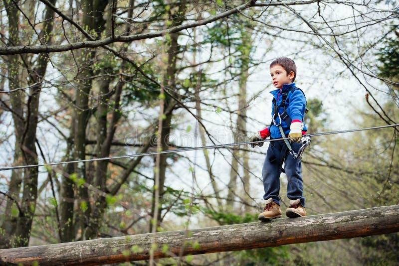 Мальчик в парке приключения стоковое изображение rf