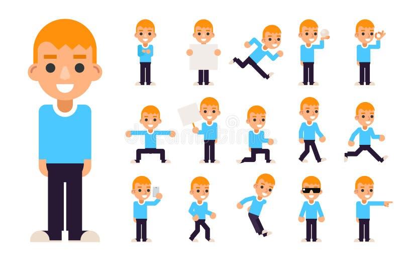 Мальчик в различных представлениях и установленных значках характеров действий предназначенных для подростков изолировал плоскую  иллюстрация штока