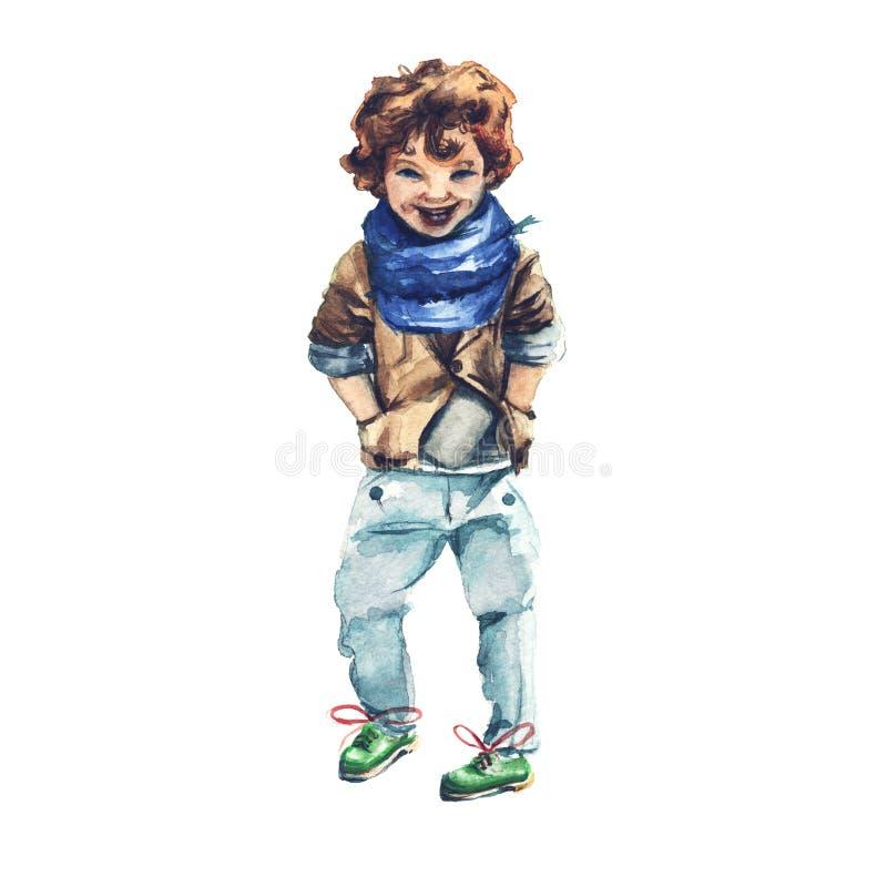 Мальчик в синем пиджаке с шарфом способ s детей I бесплатная иллюстрация
