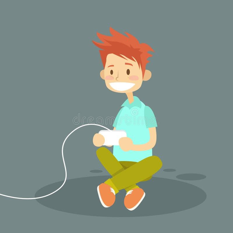 Мальчик держа кнюппель играя видеоигру компьютера иллюстрация штока