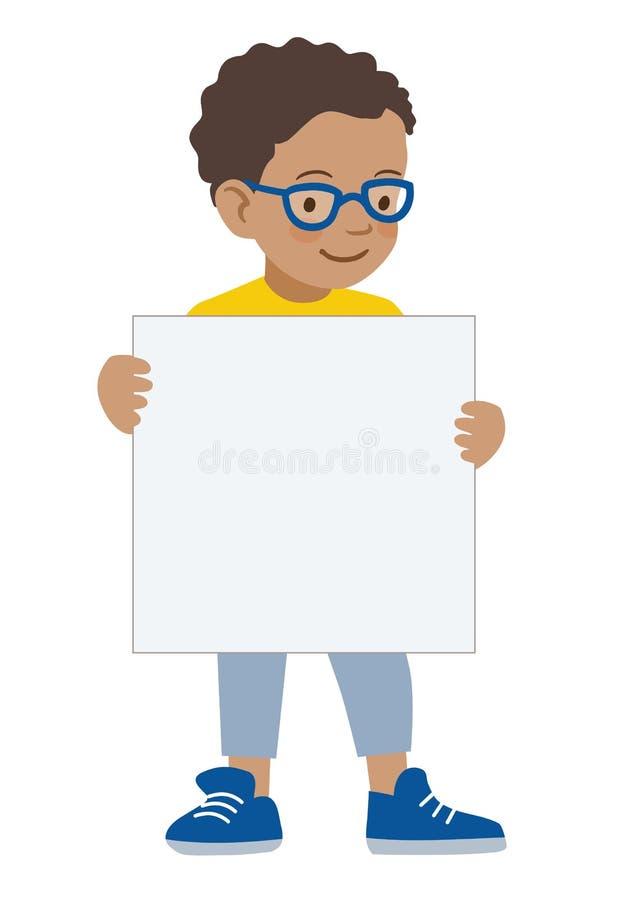 Мальчик держа пустой шаблон вздоха иллюстрация штока